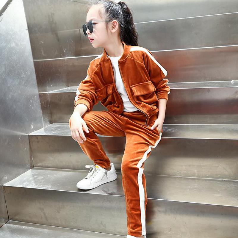 2017 Kids Clothing Sets For Girls Striped Print Sports Suits Girls Tracksuits Cotton Casual Sportswear Children Outfits 13 14 T