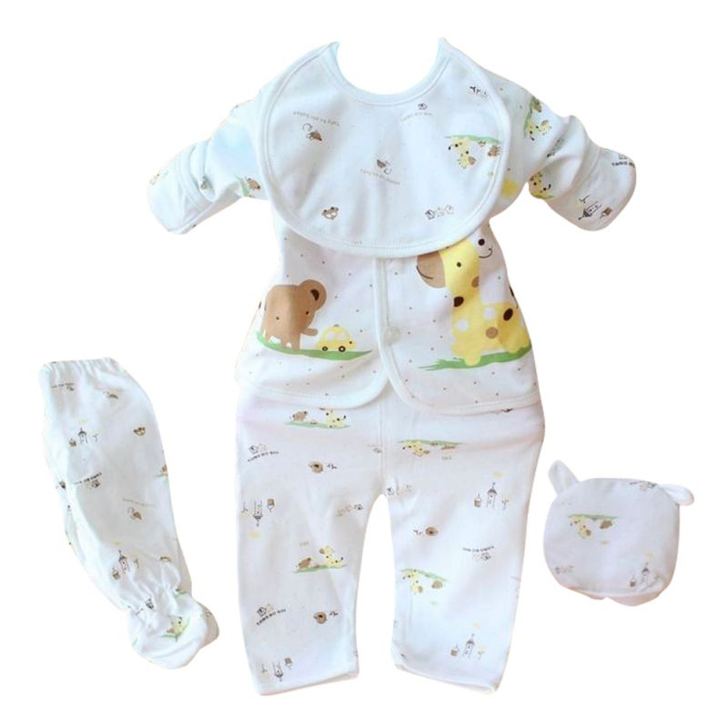 bc418b874641 2017 Newborn Baby Boy Girl 5 Pcs Clothing Set Cotton Cartoon Monk Tops  Pants Bib Hats
