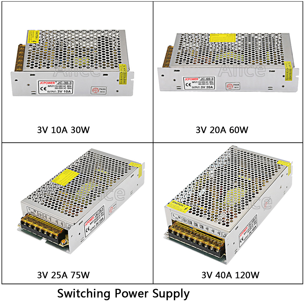 DC3V Regulated Switching Power Supply 10A/20A/25A/40A 180W Swich Driver Transformer AC110V 220V to DC 3v For LED Strip Light CNC 1pcs 3v 12a 60w switching power supply 3v 12a driver for led strip ac dc 100 240v input to dc3v s 60 3