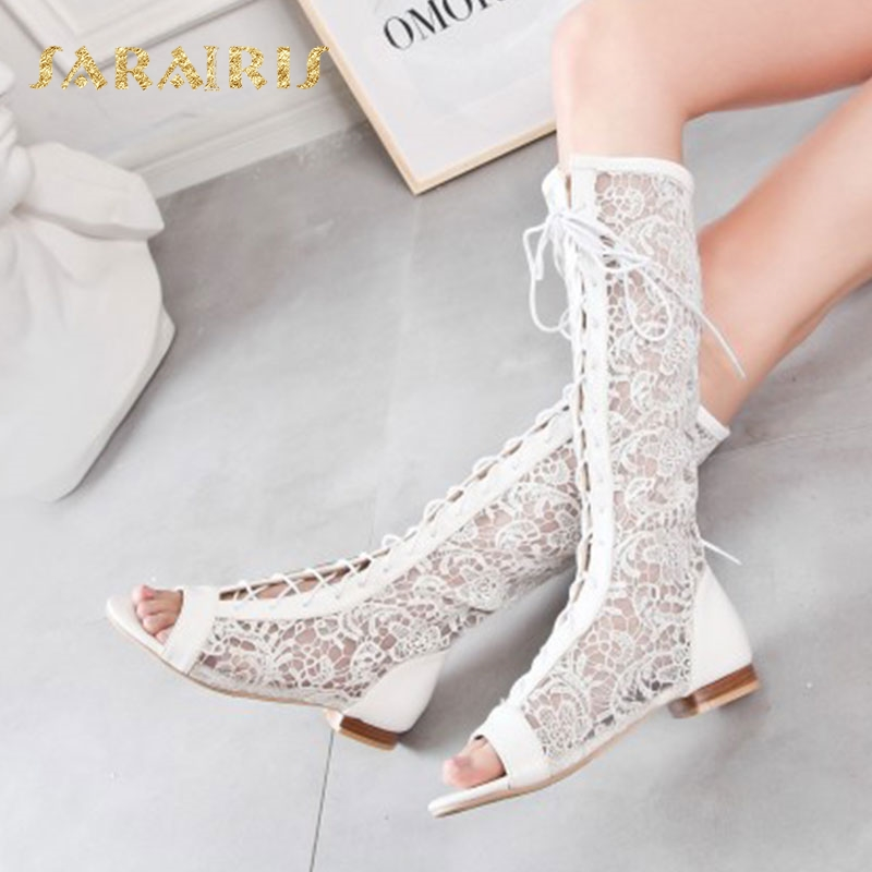Sarairis Lace Upper Low Heels Lace Up Open Peep Toe Summer Party Wedding Casual Shoes Woman Knee Boots Size 34-48Sarairis Lace Upper Low Heels Lace Up Open Peep Toe Summer Party Wedding Casual Shoes Woman Knee Boots Size 34-48