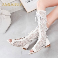 Sarairis Lace Upper Low Heels Lace Up Open Peep Toe Summer Party Wedding Casual Shoes Woman Knee Boots Size 34 48
