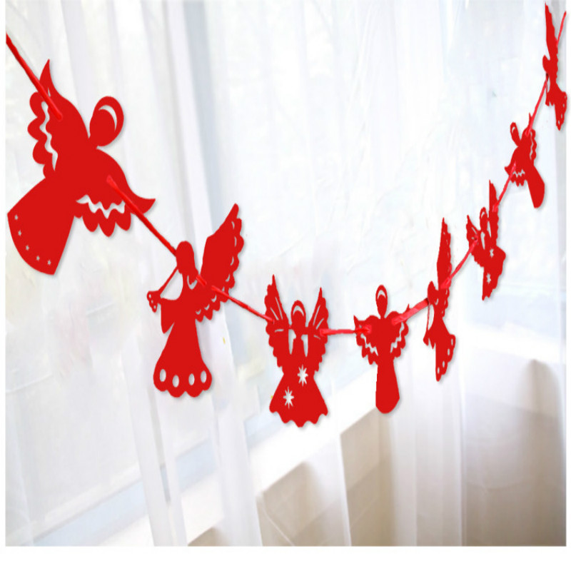 1pcs 3m angel paper garlands christmas decoration creative curtain bunting home christmas party new year banner hanging 9zsh288 in banners