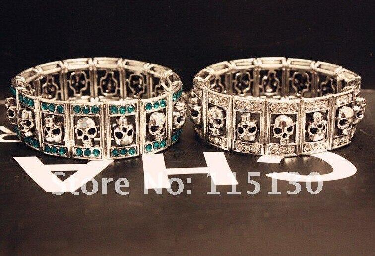 New Gothic Punk Skull Kristal Gelang & Gelang Melar Lebar Cuff Skull - Perhiasan fashion - Foto 2