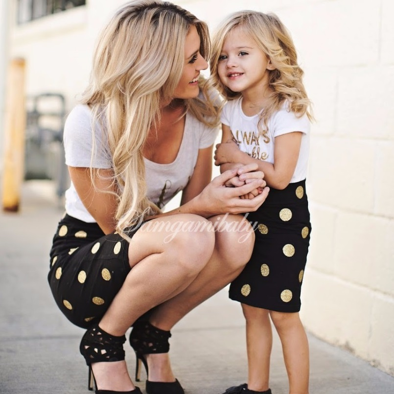 Mother Daughter Dresses 2PCS Mommy And Me Clothes Family Look Mum Mom And Daughter Matching Dress Family Outfits Clothing Sets