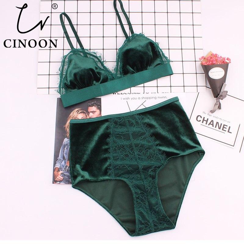 CINOON Hot Sale Women Velvet Bra Comfortable Underwear Soft Trim Push Up Bra Sets Lace Floral Sexy Lingerie