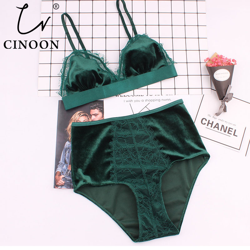 CINOON Hot Sale Women Velvet   Bra   Comfortable Underwear Soft Trim Push Up   Bra     Sets   Lace Floral Sexy Lingerie