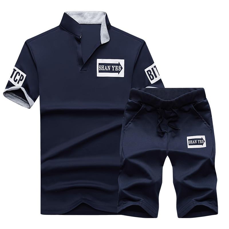 Men Polo Shirts 2017 Summer Fashion Tracksuit Men Set Short Sleeve Casaul Slim Fit Sporting Suit Men Masculino Tops+shorts