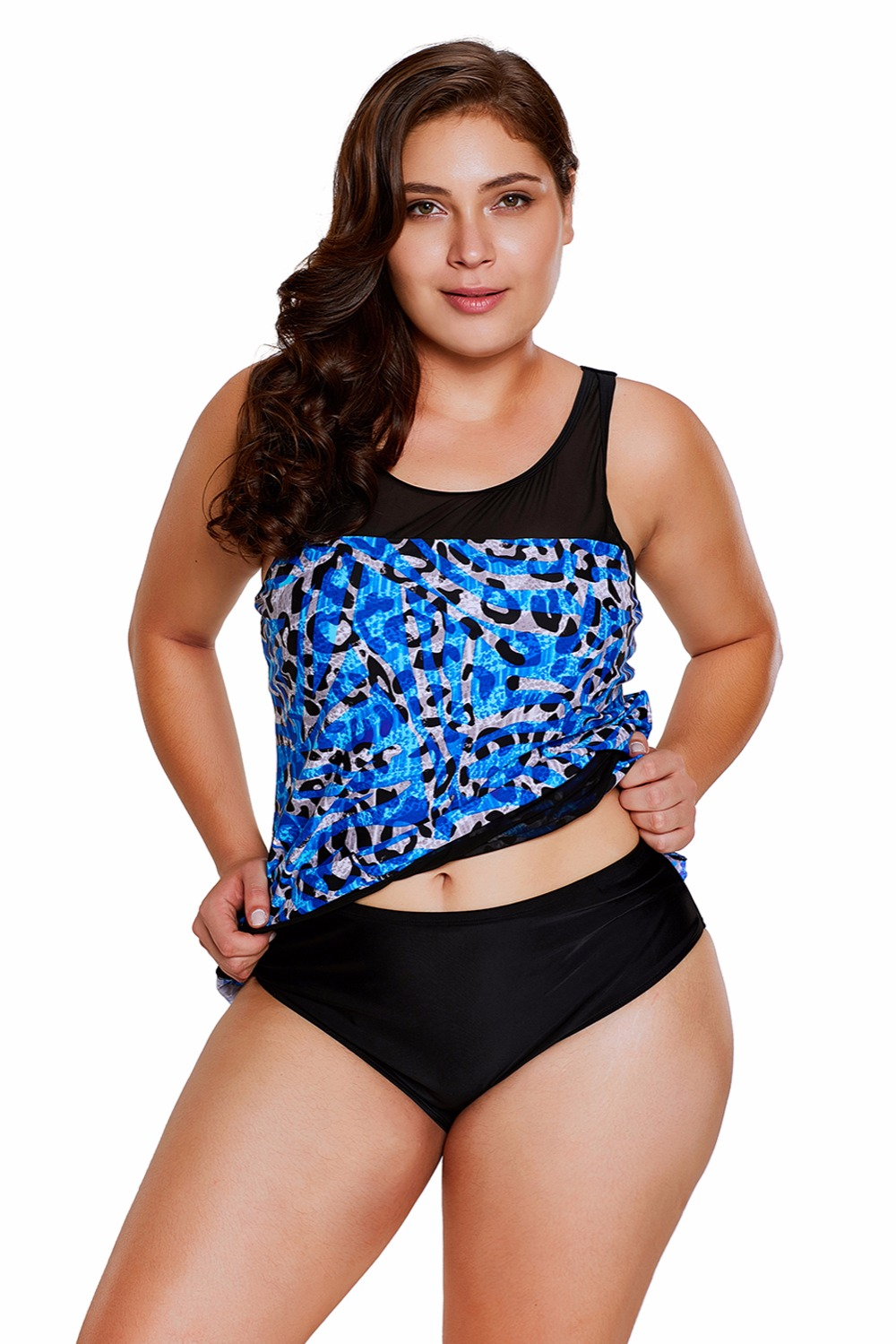 aa6ce1a5c6d8d 2018 Seaglass Mirage Asymmetric Mesh Tankini Swimsuit Plus Size ...