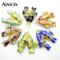 10pcs Many Color High Quality 25x25mm Cloisonne Enamel Double Fish Pendants Fit For Earrings Necklace Making