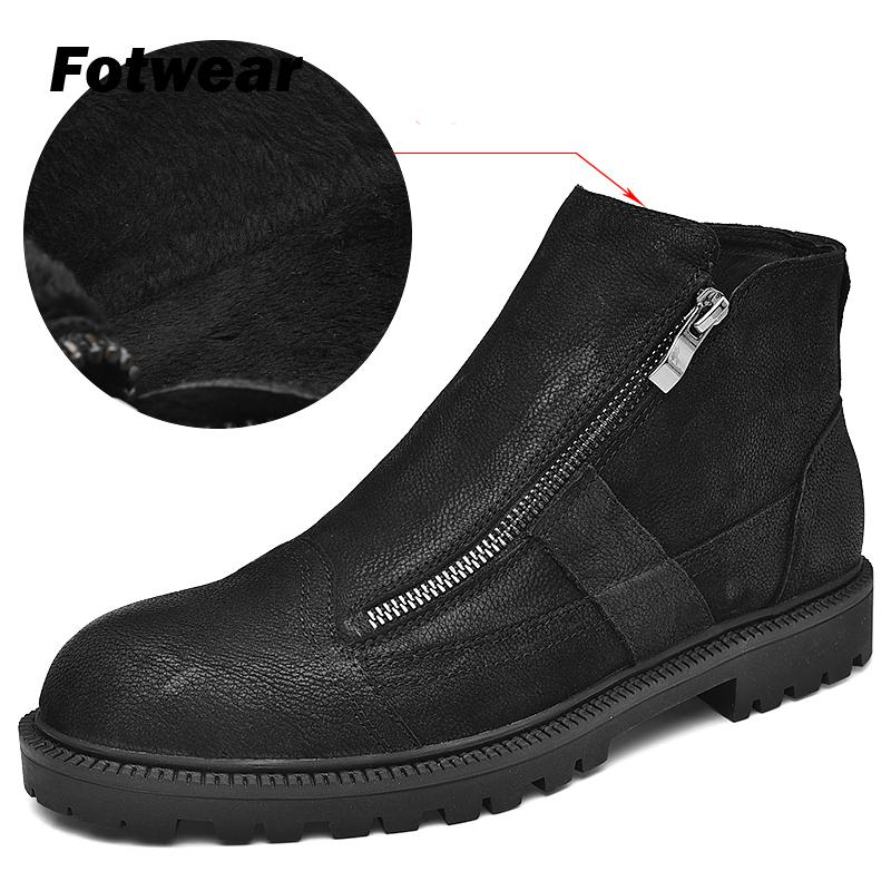 Fotwear Men Full Grain Leather Boot Men Work Black Shoes Winter Plush Boot With Zip Soft Microfleece Lining For Added Warmth