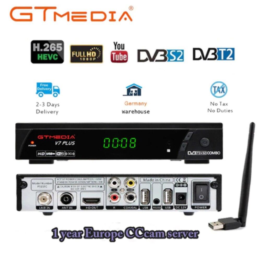 Boîtier TV DVB T2 GTmedia V7 PLUS TV récepteur terrestre DVB-S/S2 + T/T2 H.265 Support décodeur HDMI pour l'europe/russe/Columbia