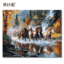 RIHE Horses Running Diy Painting By Number Animal Waterfall Oil On Canvas Hand Painted Cuadros Decoracion Acrylic Paint