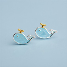 925 Sterling silver Stud earrings Blue dolphin Womens fashion jewelry wholesale Holiday gifts