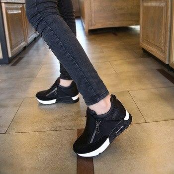 2019 Nuevos zapatos casuales para mujer Zapatillas de deporte transpirables para mujer de altura creciente Zapatillas planas Zapatillas Plataforma en Dropshipping 1
