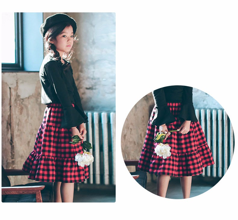 England style long skirts for baby teenage girls red plaid pleated skirt girl 2017 new spring autumn winter children clothing 5 6 7 8 9 10 11 12 13 14 15 16 years old little big teenage girls pleated skirts for kids (21)
