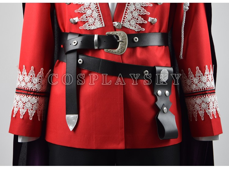 Once Upon a Time Prince Charming Red Uniform Outfit With Cloak Cosplay Costume_05 (2)
