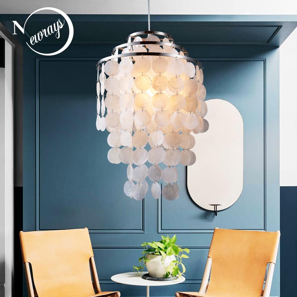 Nórdico moderno branco seashell natural pendurado luminária luminária E27 CONDUZIU Luzes para casa deco quarto restaurante sala de estar