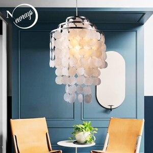 Image 1 - Современная Белая Подвесная лампа в скандинавском стиле из натуральных морских ракушек, светильник E27 светодиодные лампы для дома deco для спальни, гостиной, ресторана