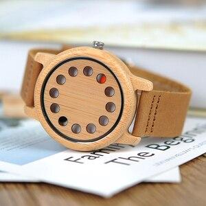Image 5 - بوبو الطيور L D06 الخيزران خشبية ساعات ذات موضة رجالية الكوارتز Relogio الذكور Saati حزام جلد Horloges Mannen