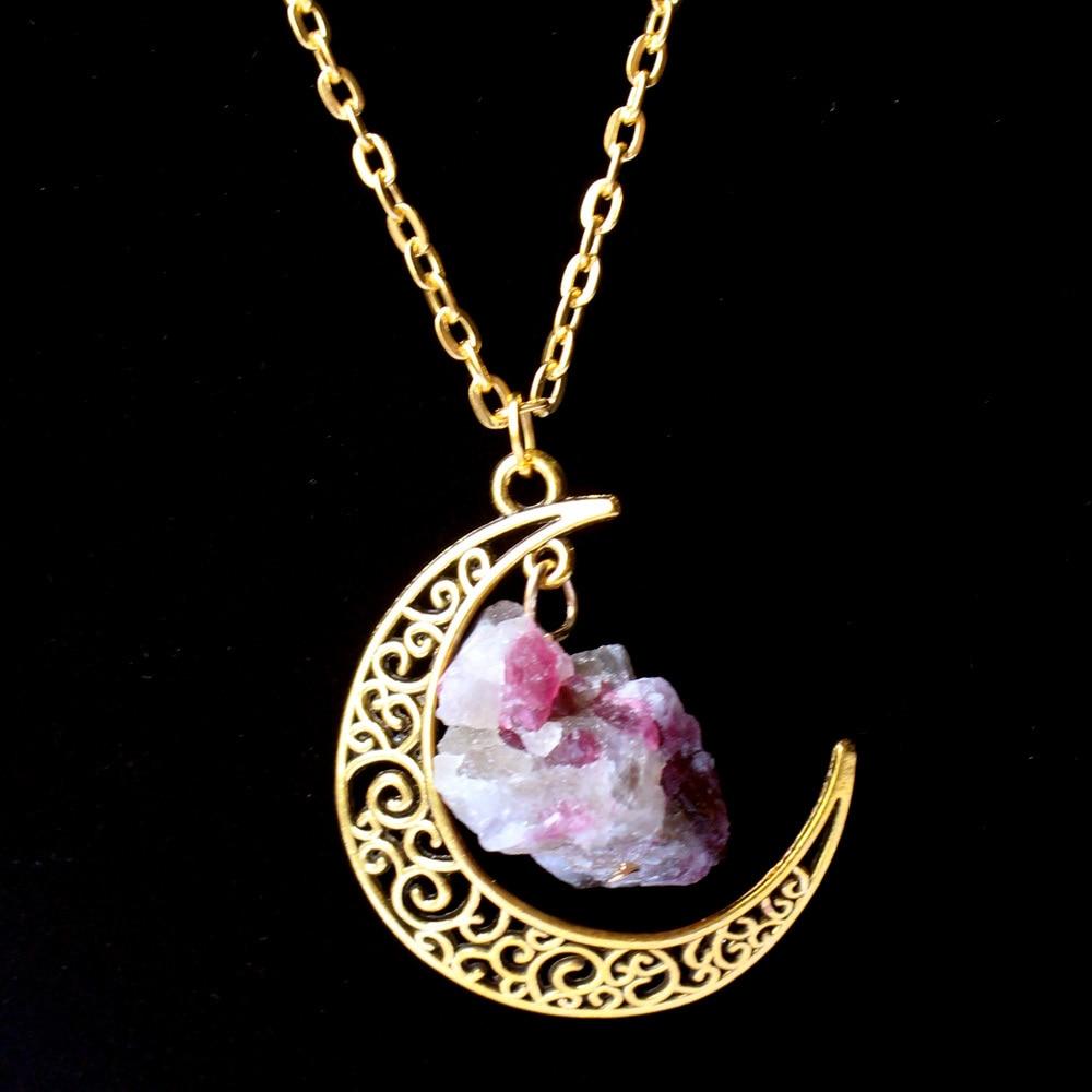 Aliexpress.com Acheter 2015 Sailor Moon Collier Soleil Et Lune Bijoux 60 cm or Pierre Naturelle Cristal Améthyste Tourmaline Collier Pendentif Pour Les