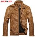 LONMMY M-3XL Masculino Slim Stand chaqueta de cuero collar de Imitación Gamuza jaqueta de couro escudo PU chaqueta de Cuero de los hombres Casuales 2016 otoño