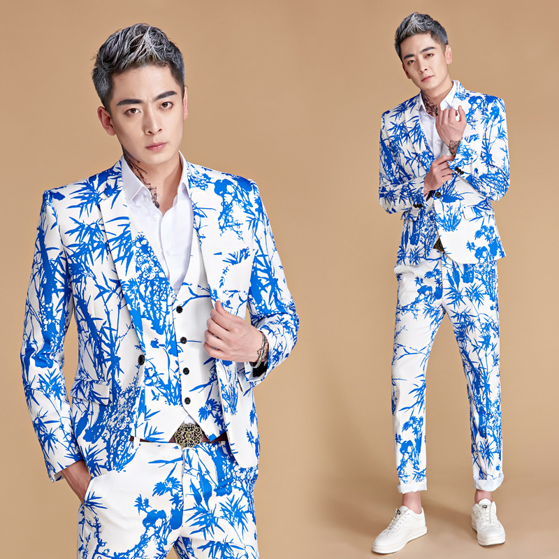 The new 2018 Chinese wind blue suit club host bamboo printing stage 2 suit garments