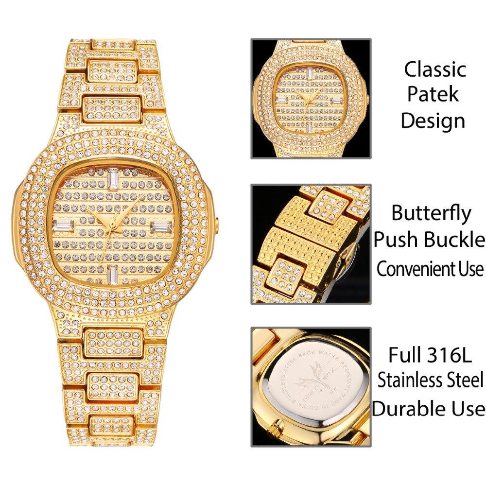 Reloj de pulsera de mujer de acero inoxidable con diamantes, reloj de pulsera para mujer, reloj de pulsera para mujer - 3