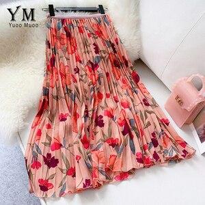 Image 2 - YuooMuoo New 2020 Women Chiffon Skirt Summer Flower Elegant Pleated Skirt Ladies Vintage High Waist Long Skirts