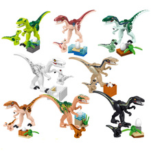 8pcs/set Mini Big Dinosaurs Dinosaur Egg Building Blocks Jurassic Triceratops Velociraptors Lot Sets Toys For Children