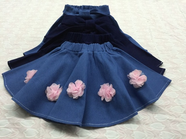 2016 Summer New Super Soft Baby Girl flower Denim Skirt shorts Children Washed Bow Belt good quality 1-6 years Retail wholesale
