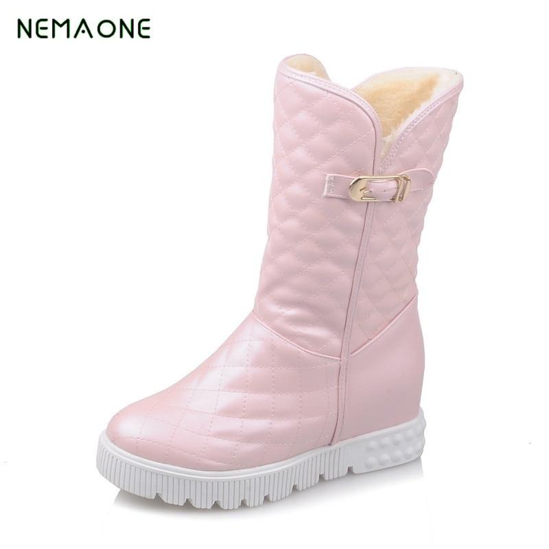 NEMAONE boots 2017 new winter new arrivals ankle boots platform shoes plush women snow boots new arrivals bandage shoes woman winter women boots fur plush lace up snow boots ankle boots