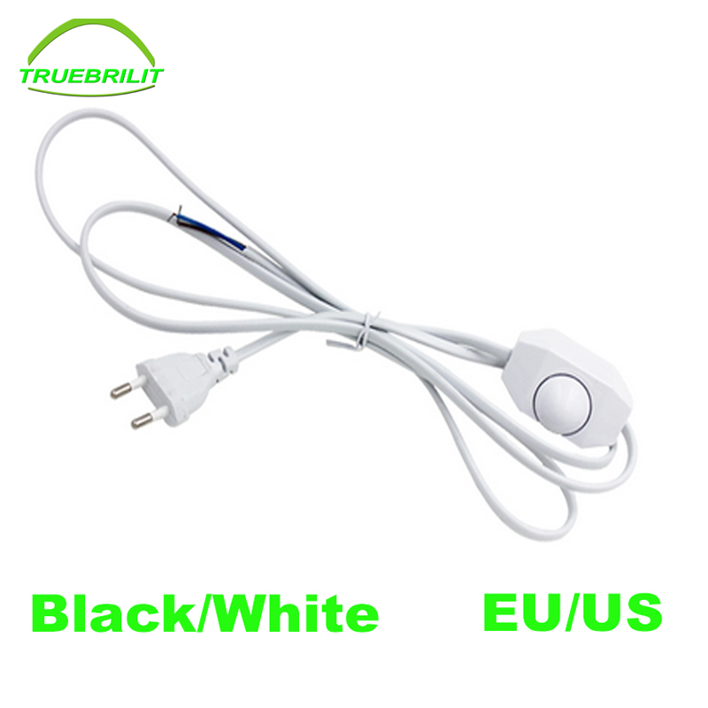 0-60 Watt Light dimmer Light Switching Plug Power 1.8m Cord wire Line Cable Button switch for LED Lamp Table lights EU plug US 3 pcs on line cable 1 8m on off power cord for led lamp with push button switch us eu plug wire light switching black white