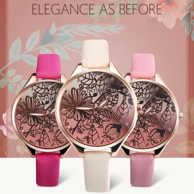 Fashion Women 3D Lotus Retro Design Leather Band Analog Alloy Quartz Wrist Watch