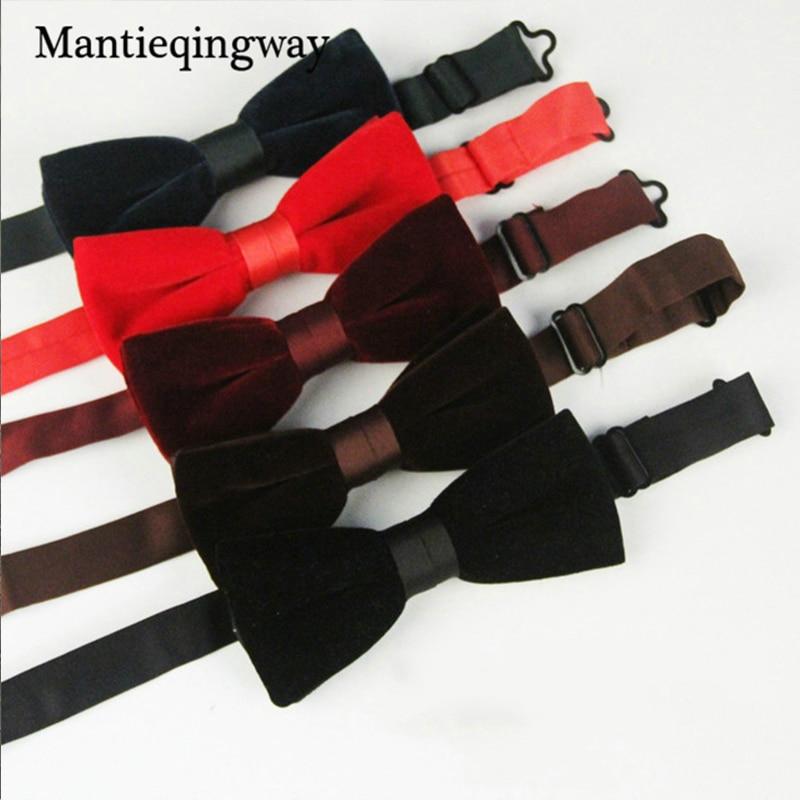 Mantieqingway Mäns Bow Slips Velvet Groom Äktenskap Bröllop Bowties Skjorta Kollar Slips Solid Färg Svart Röd Slips För Män