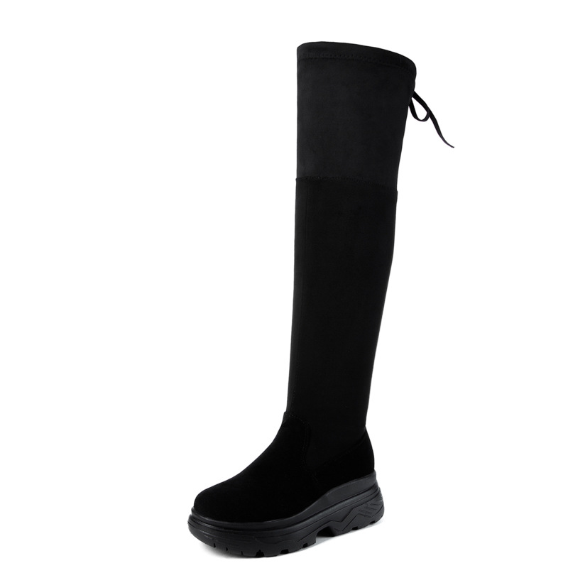 836adc7d2d4e 2018 fashion Women snow Boots Autumn Winter Ladies Fashion Flat Bottom  Boots Shoes Over The Knee Thigh High Suede Long Boots