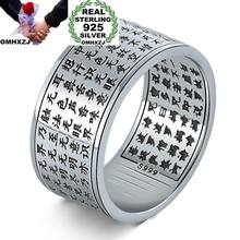 OMHXZJ Wholesale European Fashion Man Party Wedding Gift Silver Black Chinese Words Engraved Taiyin Ring RR339(China)