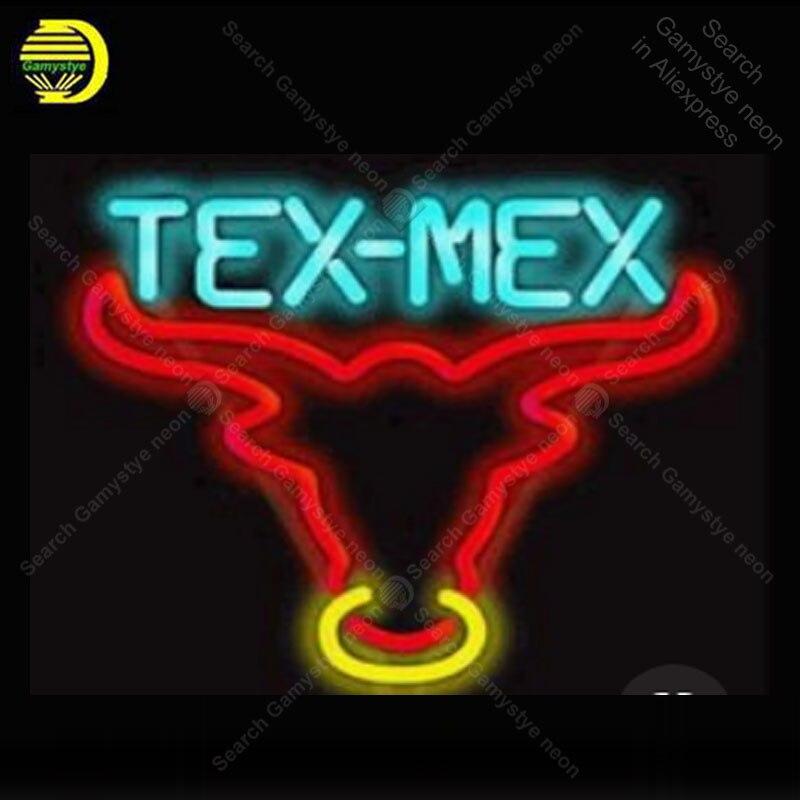 Enseigne au néon pour Tex mex enseigne au néon taureau artisanat véritable tube de verre fenêtres murales livraison directe néon bar lumières décor à la maison chambre