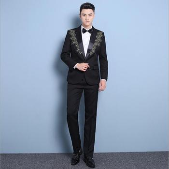 Men's Formal Single Buttons Suits Slim Fit Work Wedding Suits For Men S-XXL All-seasons Clothes Male Black Suit (suit+pants)