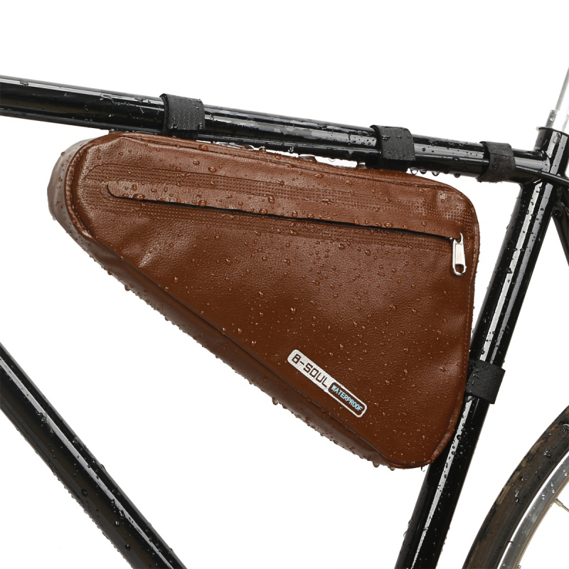 Brown Leather Vintage Bicycle Wine Bottle Holder Mountain Retro Bike Accessory