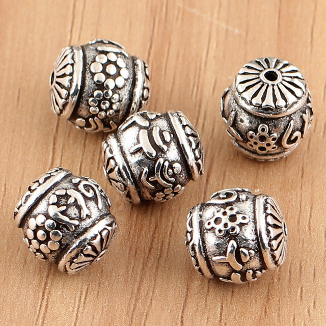 100 925 Silver Jewelry Beads Sterling Silver Tibetan Babao Symbol
