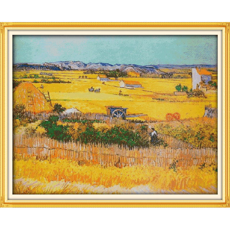 Everlasting love A good harvest of wheat Chinese cross stitch kits Ecological cotton stamped DIY new year decorations for home in Package from Home Garden