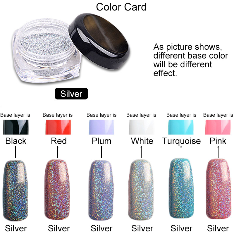 1g Box Laser Silver Holographic Powder Dust For Uv Nail Gel Polish Glitter Acrylic Nails Art Tips In From Beauty Health On