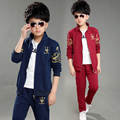 2016 Para 9 10 11 12 yesrs meninos Outono das crianças da china conjunto de roupas de algodão casaco conjuntos de roupas jaqueta + calça terno dos esportes crianças menino
