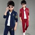 2016 Para 9 10 11 12 yesrs niños Otoño de los niños de china sistema de la ropa de algodón chaqueta + pantalones niños deportes traje ropa de niño establece escudo