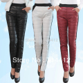 Winter down pants plus velvet thickening fashion elegant female thermal legging plus size trousers boot cut jeans