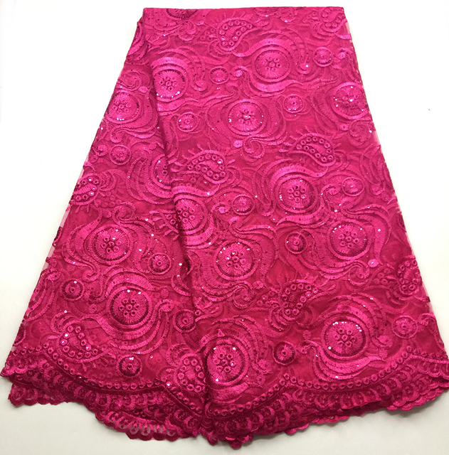 French Embroidered Lace Fabric 2018 Latest fuschia African Mesh Tulle sequins Lace Fabric 5 Yards Nigerian Guipure Lace Fabric
