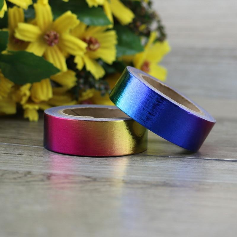 Rainbow Foil Washi Tape Japanese Paper 1.5cm*10m Kawaii Scrapbooking Tools Masking Tape Metallic Wedding Diy Decorative Tapes