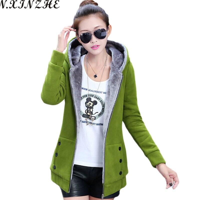 N.XINZHE   Jacket   Women Casual Hoodies Coat Cotton Sportswear Hooded Warm   basic     Jackets   Coats 2018 Winter Autumn Plus Size S-4XL