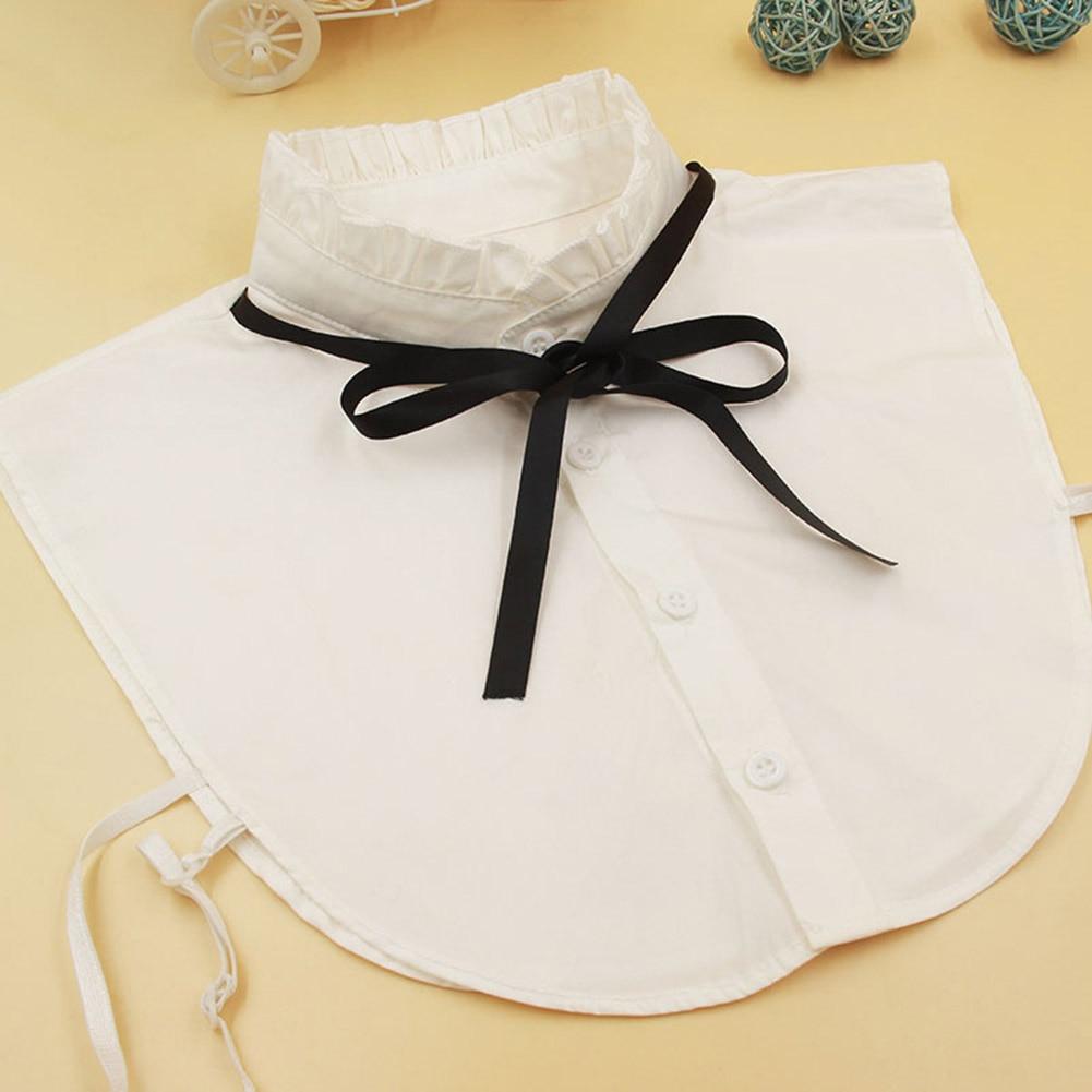 Women Shirt Fake Collar Vintage Detachable High Neck Bowknot False Blouse Top Collars Women Clothes Accessories H9
