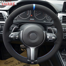 Black Suede Car Steering Wheel Cover for BMW F87 M2 F80 M3 F82 M4 M5 F12 F13 M6 F85 X5 M F86 X6 M F33 F30 M Sport цена